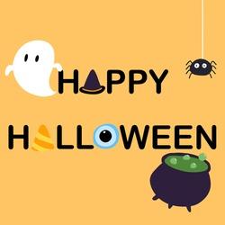 Happy Halloween black letter and orange background