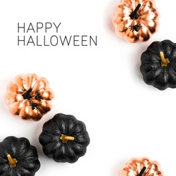 Happy Halloween Card. minimal concept.Flat lay, top view.