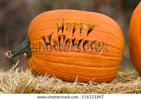 Happy Halloween carved pumpkin