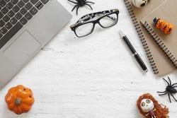 Happy Halloween Festival.  Desktop workspace flat lay Top view.