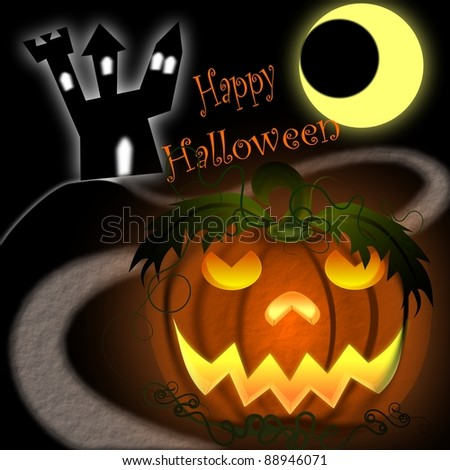 Happy Halloween Greetings With Pumpkin And Castle Stock Photo 88946071 : Shut...
