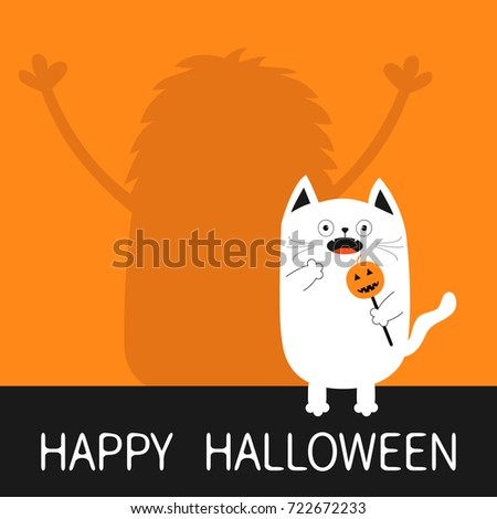 Happy Halloween. Monster silhouette wall shadow hands up. Spooky frightened white cat holding pumpkin face on stick. Open mouth. Funny Cute cartoon baby character. Flat design Orange background #722672233
