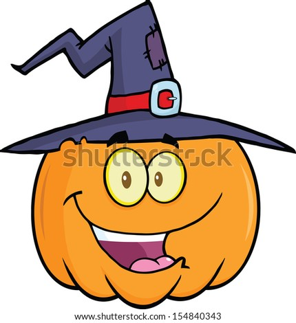 Happy Halloween Pumpkin With A Witch Hat Cartoon Mascot Illustration
