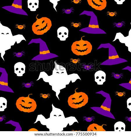 Happy halloween seamless pattern background. Abstract halloween pattern for design card, party invitation, poster, album, menu, t shirt, bag print etc. Raster copy
