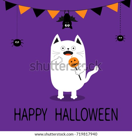 Happy Halloween. Spooky frightened cat holding pumpkin face on stick. Flag garland. Hanging bat, spider dash line. Bunting flags. Funny Cute cartoon baby character Flat design Violet background  #719817940