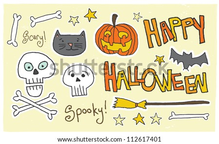 Happy Halloween! Spooky! Scary! A fun halloween montage of elements. Happy Halloween, Scary! and Spooky! typographic elements are intermingled with classic icons.