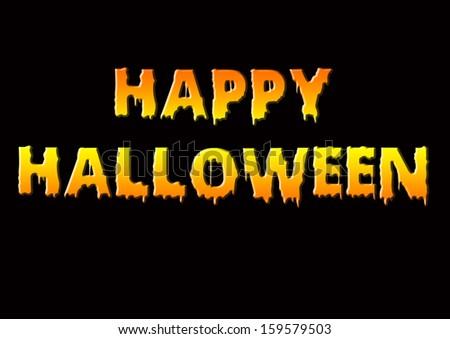 happy Halloween text orange and yellow over black