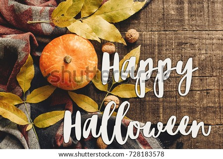 happy halloween text sign  flat lay. pumpkin with leaves and walnuts on stylish scarf top view, space for text. seasonal greetings, autumn fall holidays. harvest time. cozy mood - Shutterstock ID 728183578