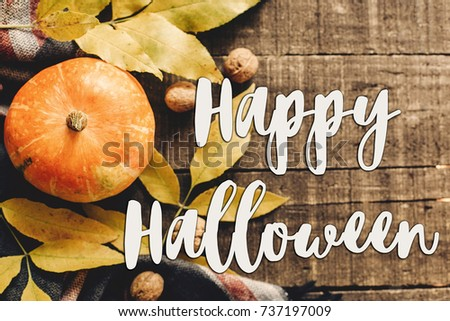 happy halloween text sign  flat lay. pumpkin with leaves and walnuts on stylish scarf top view, space for text. seasonal greetings, autumn fall holidays. harvest time. cozy mood - Shutterstock ID 737197009