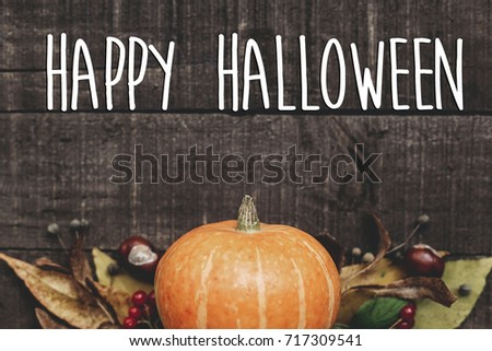 happy halloween text sign, greeting card. fall image flat lay. beautiful pumpkin and leaves and berries on rustic wooden background, top view. cozy autumn mood. fall holiday #717309541