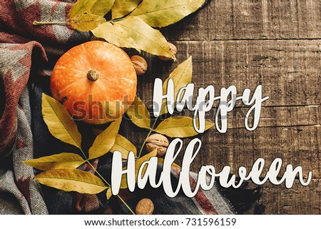 happy halloween text sign on autumn pumpkin with leaves and walnuts on stylish scarf top view, space for text. seasonal greetings, fall holidays. flat lay. harvest time. cozy mood #731596159