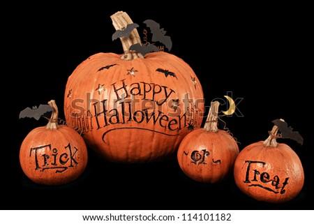 Happy Halloween, trick or treat, pumpkin display