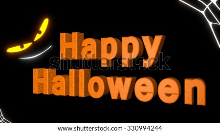Happy Halloween with creepy glowing eyes and smile, and spider web in corners,