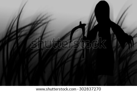 happy Halloween with grim reaper dark abstract silhouettes background can use in poster or fill text and use Gaussian effect #302837270