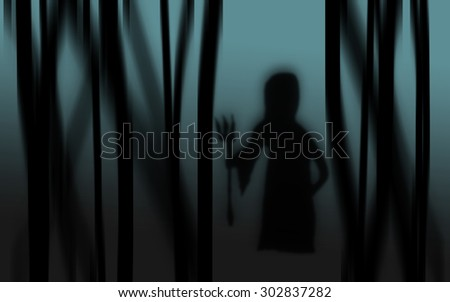 happy Halloween with grim reaper dark abstract silhouettes background can use in poster or fill text and use Gaussian effect