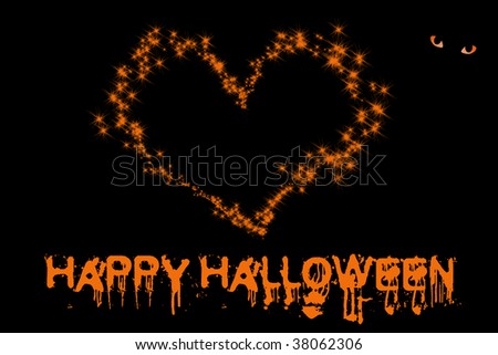happy hallowing illustration card background with sparking heart - stock photo