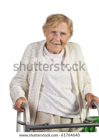 stock photo : Happy handicapped old woman with walker. Shot against white background.