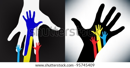 Happy hands combined for helping- vector version on vibrant colors