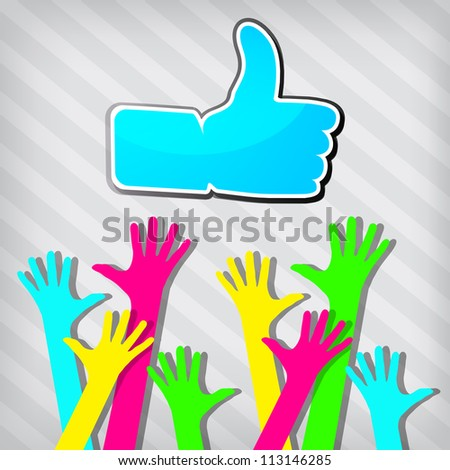 "Happy hands with ""Like"" symbol on a stripped background"
