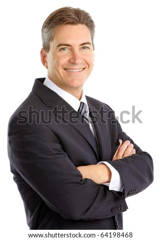 Happy handsome businessman. Isolated over white background