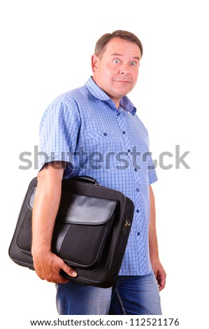 Happy handsome businessman with black bag. Isolated over white background