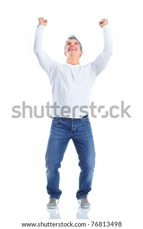 Happy handsome man. Isolated over white background