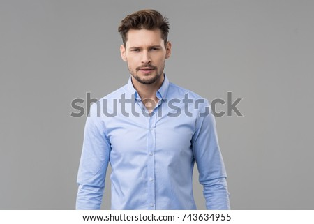 Happy handsome man wear blue shirt