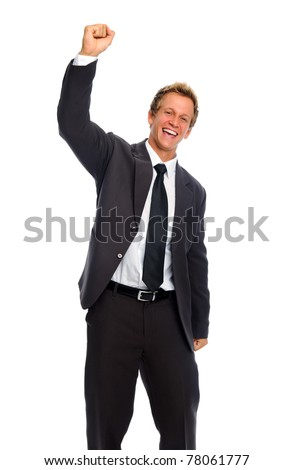 Happy handsome white man punches his fist into the air