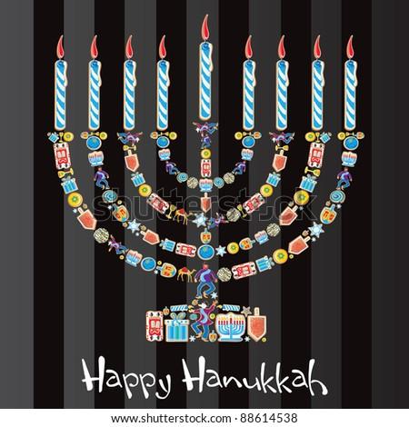 Happy Hanukkah menorah made of cute jewish cookies