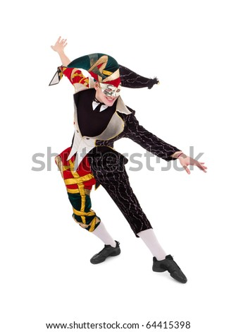 Happy Harlequin posing against isolated white background