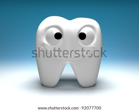 Happy healthy tooth, a fun and smiling. Big eyes, big smile