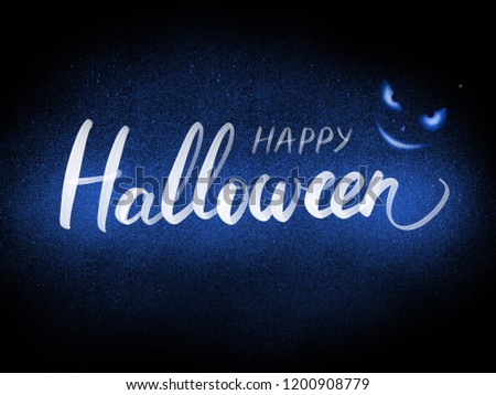 Happy Helloween hand lettering illustration. Helloween greeting card, invitation or banner background.