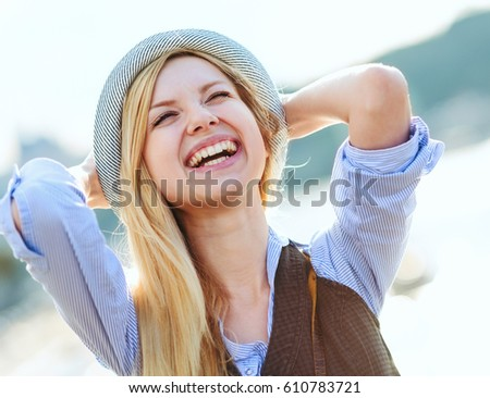 happy hipster girl rejoicing in ...
