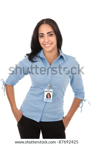 Happy Hispanic Female Businesswoman Carrying Employee ID on Isolated Background