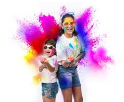 Happy Holi greeting card - indian kids playing colours
