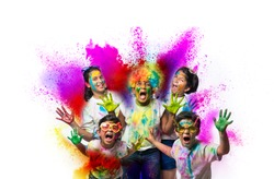 Happy Holi greeting card showing indian kids playing colours over white background