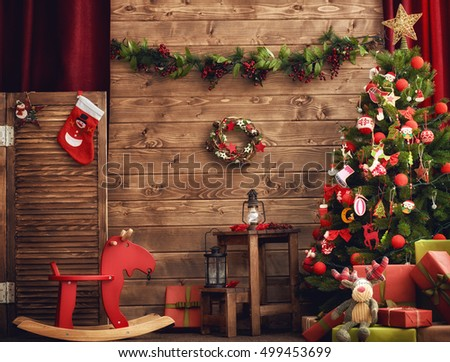 Stock Photo Happy Holiday! A beautiful living room decorated for Christmas.