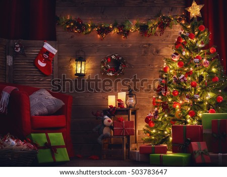 Happy Holiday! A beautiful living room decorated for Christmas.