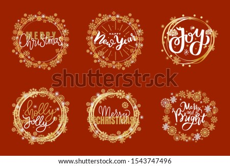 Happy Holidays and best wishes, merry and bright Christmas, holly jolly New Year handwritten doodles, scripts, calligraphic inscription for greeting cards. White text on red background