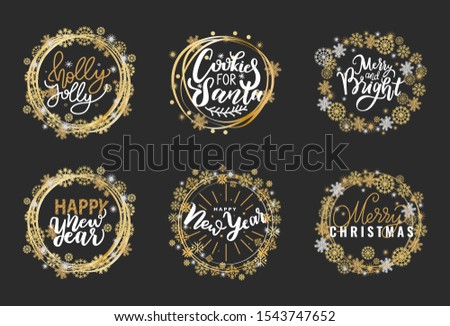 Happy Holidays and best wishes, merry and bright Christmas, holly jolly New Year handwritten doodles, scripts, calligraphic inscription for greeting cards. White text on black background