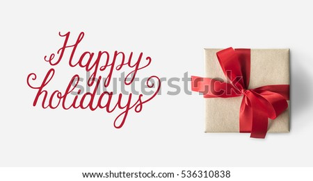 Happy holidays cheerful greeting word #536310838