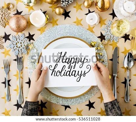 Happy holidays cheerful greeting word #536511028