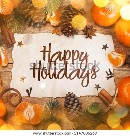 Happy Holidays, Christmas and New Year background - Shutterstock ID 1147806269