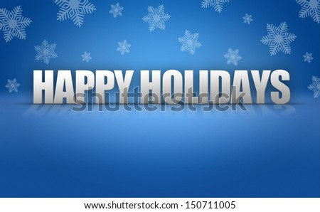 Happy Holidays 3D text on blue snowflake background pattern
