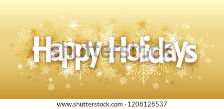 HAPPY HOLIDAYS Overlapping Letters Vector Icon on Snowflake Background