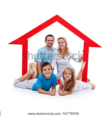 Happy home concept - young family with two kids and house sign