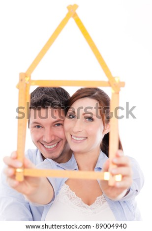 happy home planning couple isolated