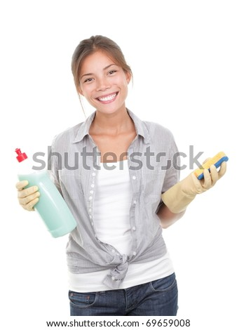Happy housewife cleaning dishes isolated on white background.