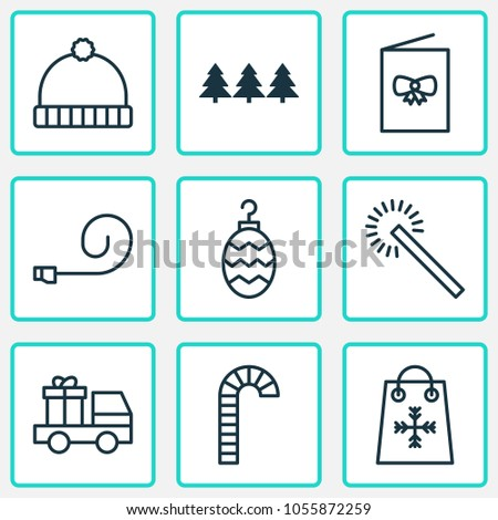 Happy icons set with winter hat, postcard, party blower and other lorry birthday elements. Isolated  illustration happy icons.