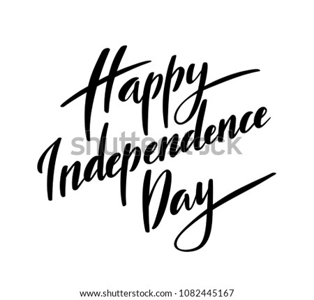 Happy Independence Day of America typography with hand-drawn lettering. illustration.